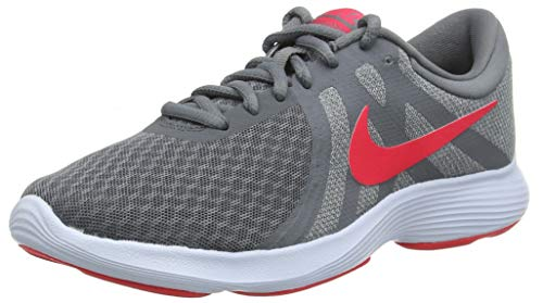 Nike Wmns Revolution 4 EU, Zapatillas de Running Mujer, Gris (Cool Grey/Red Orbit/Pure Platinum/Half Blue 018), 38