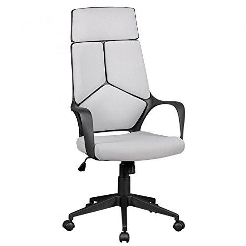 Chaise de Bureau TECHLINE Tissu léger Chaise de Bureau Gris Design mécanisme d'inclinaison de Chaise pivotante Fauteuil de Direction et accoudoirs