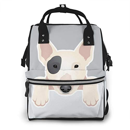 Bull Terrier Puppy Funny Pets Baby Diaper Bag Backpack,Multi-Function Waterproof Large Capacity Travel Nappy Bags For Mom