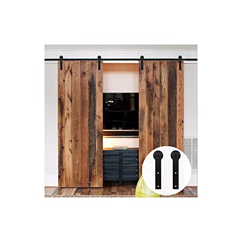 8FT/244cm Schiebetür Kit Barn Door Hardware Schiebetuerbeschlag Hängeschiene Schiebetürsystem für Doppeltür I-Förmige