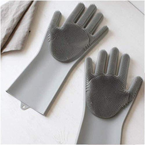 Misaki Magic Silicone Scrubbing Hand Gloves Scrubber for Dishwashing and Pet Grooming, Latex Free Grey