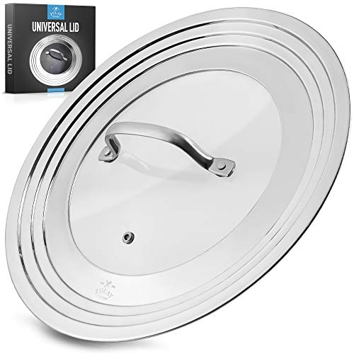 Zulay Kitchen Universal Lid For Pots and Pans - Stainless Steel & Tempered Glass Universal Pan Lid - Durable Universal Pot Lid Fits 7' To 12' Diameter Cookware, Skillets, Pans, & More
