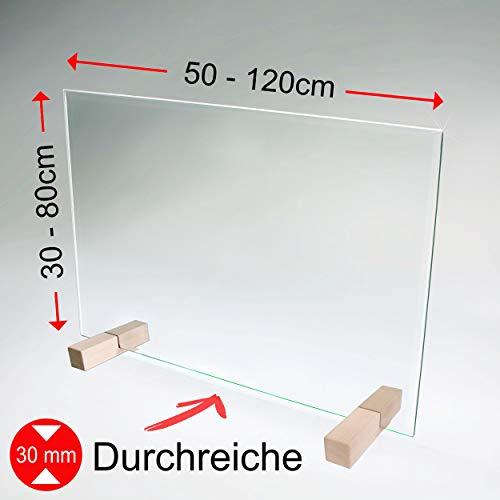 bijon Spuckschutz Thekenaufsatz aus Sicherheits-Glas mit Durchreiche | Hygienischer als Plexiglas und Acryl-Glas | M4 (70 x 40cm)