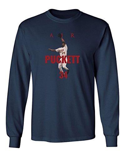 KINGS SPORTS Minnesota Puckett Air Men's Long Sleeve T Shirt (Navy,XL)