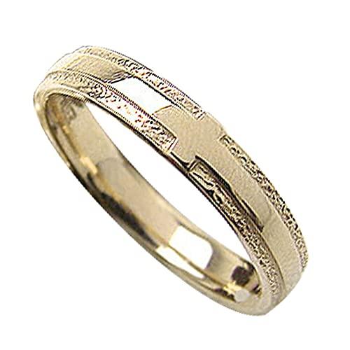 [ジュエリーアイ]Jewelry i 指輪 クロスリング イエローゴールドK18 粗し 結婚指輪 単品 ピンキーリング ギフト 9.5号