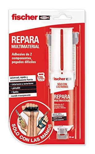fischer 1 Fuerte bicomponente Sclm Repara Multimaterial blíster de 25 ml, Pegamento Universal para Casos difíciles, Adhesivo de Resina epoxi Transparente, fácil aplicación, Blanco