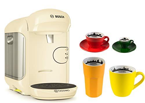 Bosch TASSIMO Vivy 2 + 4-delig City Range Set koffiebeker espresso kop latte macchiato glas 29,8 x 16,9 x 24,9 cm crème