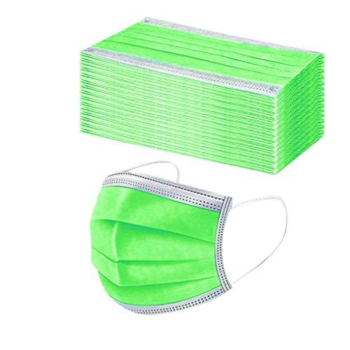 50 Stück Einmal-Mundschutz Mundbedeckung Erwachsene 3-lagig Atmungsaktiv Mund und Nasenschutz Bedeckung Multifunktionstuch Halstuch (50pcs, Grün)