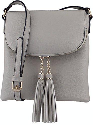 B BRENTANO Vegan Medium Flap-Over Crossbody Handbag with Tassel Accents (Gray)