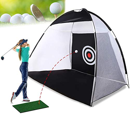 CABINA HOME Golf Übungsnetz Faltbarer Golf Netz Trainingsnetz Golf Übungsmatte Chipping Putting Matte Driving Netz Indoor/Outdoor Golf Trainingsgeräte für Hinterhof Garten (Schwarz)