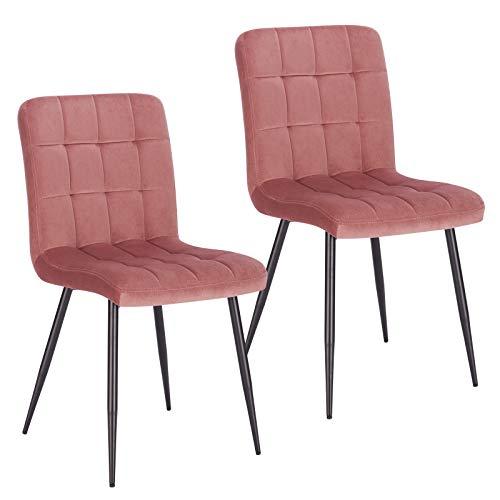Lestarain Esszimmerstühle 2 Stücke 2er Set Küchenstuhl Polsterstuhl Wohnzimmerstuhl Samtstuhl Sessel mit Rückenlehne| Metallbeine| Sitzfläche aus