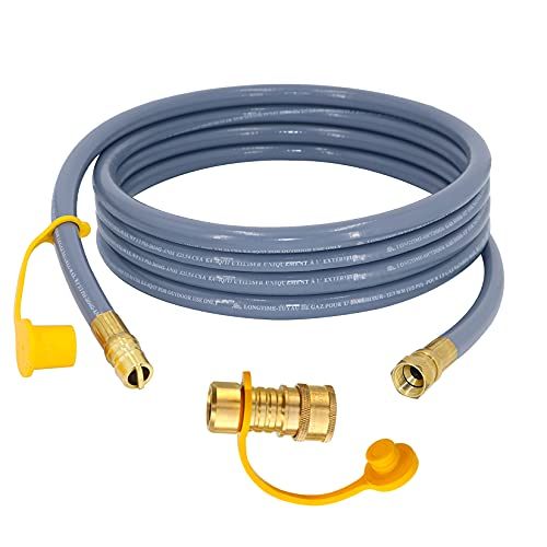LONGADS 3/8 inch Natural Gas Hose with Quick Connect, Propane to Natural Gas Conversion Kit for Grill, Natural Gas Line Hose for Smoker, Patio Heater, Generator and Fire Pit - CSA Certified (12ft)