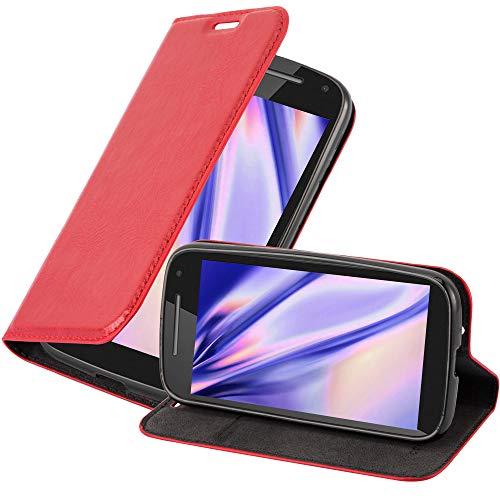 Cadorabo Hülle für Motorola Moto E3 in Apfel ROT - Handyhülle mit Magnetverschluss, Standfunktion & Kartenfach - Hülle Cover Schutzhülle Etui Tasche Book Klapp Style