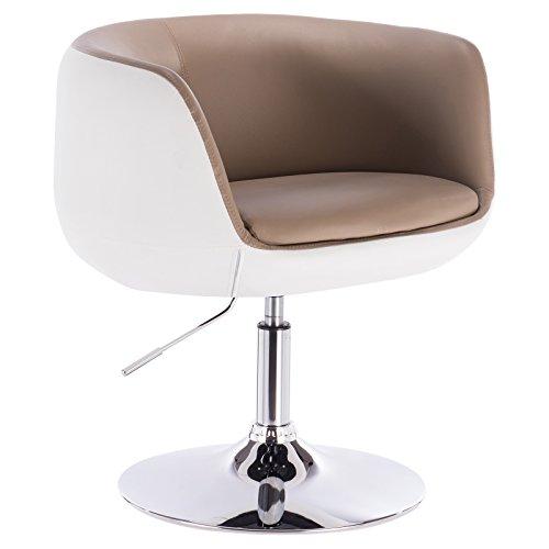 WOLTU® BH42kkw-1 1 x Barsessel Loungesessel mit Armlehne Kunstleder 2 farbig Khaki+Weiss