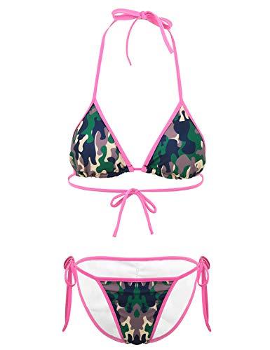 inhzoy Damen Mirco Bikini Sexy Bademode Gepolstert BH Oberteil mit Bikinislip High Cut Camouflage Schwimmbekleidung Beachwear Camouflage XX-Large