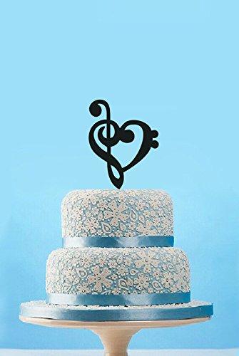 Treble Bass Clef Hart Concert Bruiloft Cake Topper-Hout Goud Acryl Taart Topper Decor Muziek Clef Bass Treble Cake Topper-Bruidsdouche