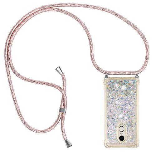 Ptny Case Funda Colgante movil con Cuerda para Colgar Xiaomi Redmi Note 4 Carcasa Correa Transparente de TPU con Cordon para Llevar en el Cuello con Ajustable Collar Cadena Cordón, Oro Rosa