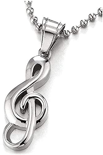 Collar Collar de mujer Collar de hombre Collar con colgante Encanto de moda para regalos Hombres y mujeres Símbolo de agudos Acero inoxidable Símbolo de música Collar Colgante Collar con colgante Rega