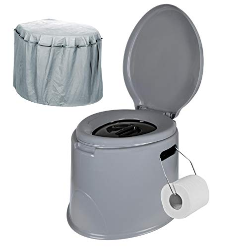 Adult Size Portable 5L Camping Toilet With Loo Roll Holder Bucket Seat Potty Lid Festival Tent...