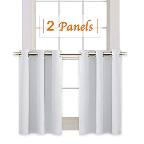 RYB HOME Kitchen WindowTiers Gift, Grommets Top Window Treatment Draperies for Room Darkening Privacy Curtains for Nursery/Dining Room/Bedroom, 42 W x 36 L Inch, GreyishWhite, 2 Panels
