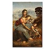Famoso La Virgen y el Niño con Santa Ana Pintura en Lienzo Obras de Da Vinci Poster Impresiones Cuadros de Arte de Pared para la Decoracion de la Salon de Estar 80x120cmx1 Sin Marco