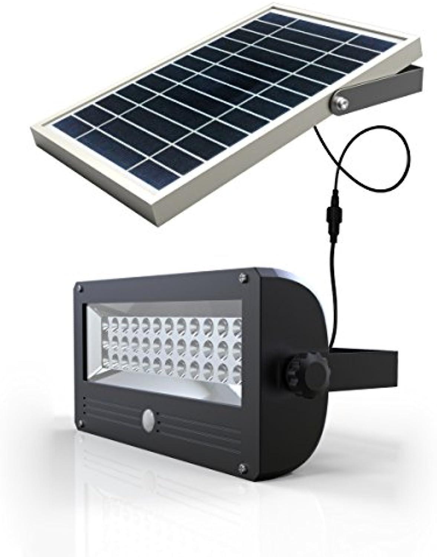 Brightsparksolar BS4103 120 W 1000 lm 24,25 x 12,5 x 92 cm alleinstehende Solarlampe mit Sensor aus Aluminium, grau
