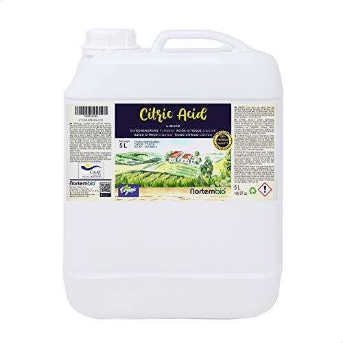 Nortembio Acide Citrique 5L. Liquide Concentré, 100% Pure. pour la Production Biologique. E-Book Inclus.
