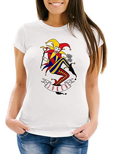 MoonWorks® Damen T-Shirt Kartenspiel Kostüm Spielkarten Gruppenkostüm Karten Fasching Karneval Faschingsshirt Joker weiß XL