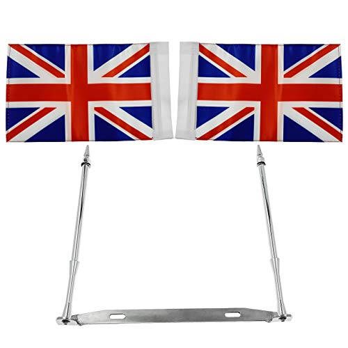 Motorbike Rear Stainless Steel License Plate Frame Double Pole & Double 2 Flags for Harley Honda Universal - UK Flag