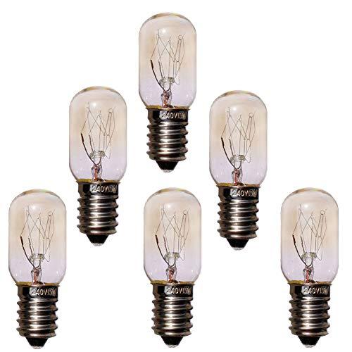 JINYU Pack 6 unidades bombillas nocturna para Lampara de Sal del Himalaya, de rosca SES casquillo E14 chapadas en níquel, T20 15W, 220 V, 230V Bombilla del refrigerador de la máquina de coser 6pcs
