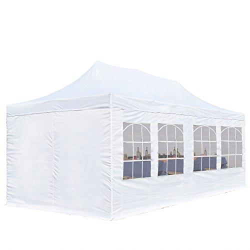 TOOLPORT 3x6m Pavillon Faltpavillon inkl. Seitenteile Stahl Faltzelt Garten Partyzelt weiß