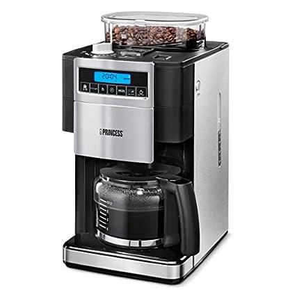 Princess 249402 - Cafetera con molinillo de café, panel de control digital, capacidad 1.25 L, sistema antigoteo, 1000 W, para 10-12 tazas de café