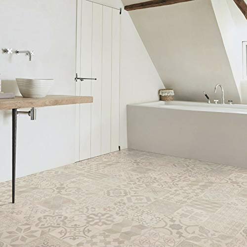 PVC Bodenbelag Almeria Fliese Hell Grau mit Textilrücken (16,95 € p. m²) (Muster DIN A4)