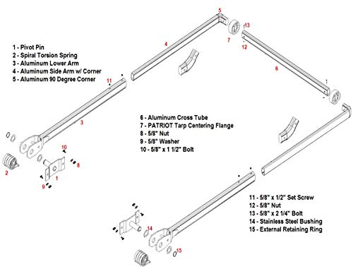 4 Spring Aluminum Dump Truck Complete Tarp Arm Kit. Complete Kit, from Pin to Pin. Without Arm Bends