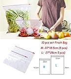 FNB 20 Stück/Set Wiederverwendbare frische Reißverschlusstasche Gefrierheizung Saran Wrap Aufbewahrungstasche Reißverschluss-Polybeutel Küchenzubehör, 10 Stück