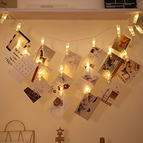Photo Clip String Lights, 5M 20 LED Battery Operated String Lights with 3 Modes Decorative Indoor Fairy Lights for Gift, Home, Bedroom, Patio, Christmas, Party, Wedding (Warm White)