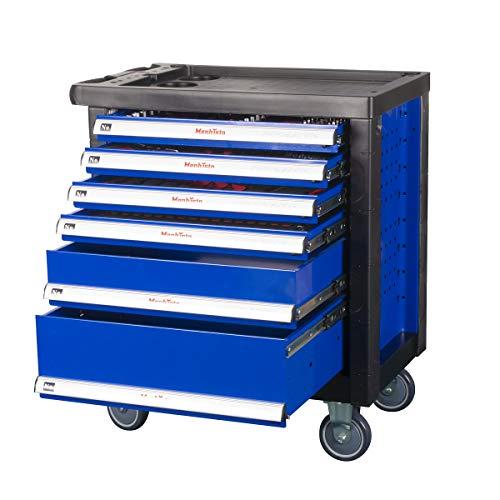 Pro-Line werkplaatswagen gereedschapswagen met gereedschap van chroom-vanadium-staal incl. soft-inlays met schroefsleutel, ratel met notenkast, schroevendraaier enz. gevulde laden van Mephisto