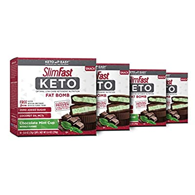 SlimFast Keto Fat Bomb Snacks - Mint Cup - 14 Count Box - Pack of 4 - Pantry Friendly