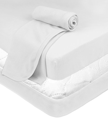 American Baby Company Playard Bundle, Mattress Pad, Fitted Sheet, Thermal Blanket, White, for Boys and Girls
