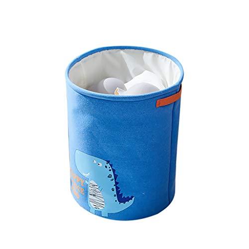 MiMiey Verdickte Faltbare Runde Lagerung Wäschekörbe, Baumwolle Wäschesammler Leinenstoff Wäschekorb Faltbarer Aufbewahrungskorb mit Griffen und Kordelzug-Verschluss (Blau)