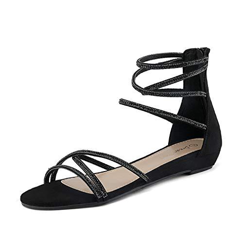 DREAM PAIRS Women's Weitz Black Ankle Strap Rhinestones Low Wedge Sandals - 9 M US