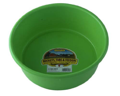 Little Giant Plastic Utility Pan (Lime Green) Durable & Versatile Short Livestock Feeding Bucket (5 Quart) (Item No. P5LIMEGREEN)