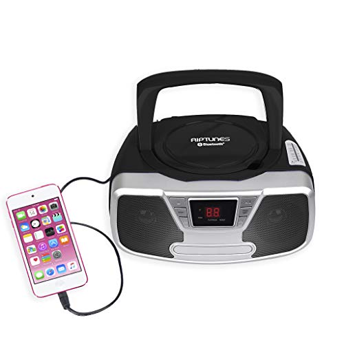 Riptunes Programmable CD Boombox- Portable Boombox, AM/FM Radio, with Bluetooth Black CDB232BT