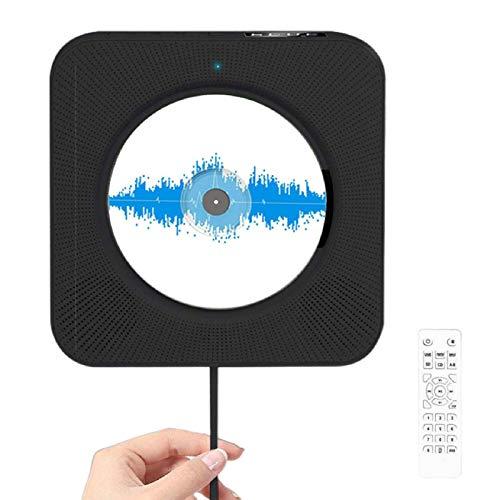 JFF Reproductor De CD Portátil Actualizado, Altavoces Bluetooth Y Radio FM con Pantalla LCD, Reproductor De Música De CD para Montar, Compatible con CD/Bluetooth/FM/U Disk/SD Card/AUX,Negro