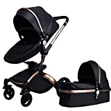 Babyfond Baby Stroller, 360 Rotation 2-in-1 Convertible Bassinet Sleeping Stroller, Luxury Pu Pram with 5-Point Harness, Shock Resistant, High Landscape Pushchair for Newborn and Toddler(Black)
