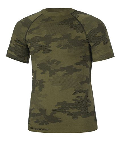TACTICAL Hommes Dous-Vêtement Fonctionnel Thermoactifs Couche De Base Perméable à L'air Manche Courte Pêche Militaire Moro (Kaki, XXL)