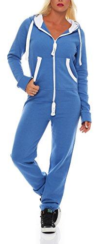 Damen Jumpsuit Jogger Jogging Anzug Trainingsanzug Einteiler Overall 9t5 hellblau XL