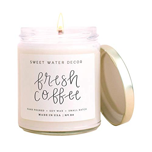 Sweet Water Decor Fresh Coffee Candle | Sweet Latte, Caramel Creme, Kona Coffee, and Rum Cream Scented Soy Candles for Home | 9oz Clear Glass Jar, 40 Hour Burn Time, Made in the USA