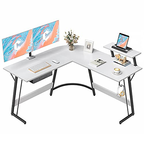 CubiCubi L-Shaped Desk Computer Corner Desk, 50.8' Home Gaming Desk, Office Writing Study Workstation with Large Monitor Stand, Space-Saving, Easy to Assemble