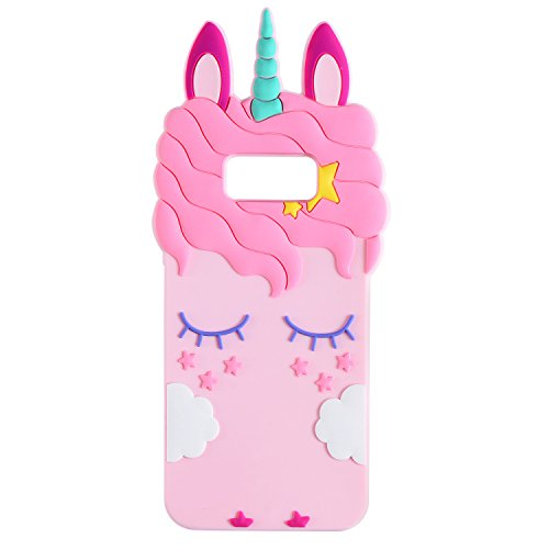 Liangxuer Pink Unicorn for Samsung Galaxy S8,Soft 3D Silicone Case,Cute Animal Rubber Cover,Cool Kawaii Cartoon Gel Cases for Girls Kids.Fun Unique Sweet Character Skin Protector Shell for S8